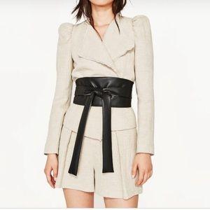 Zara linen blazer NWT leather belt